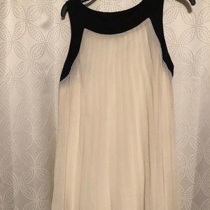 Pleated Cream and Black Dress